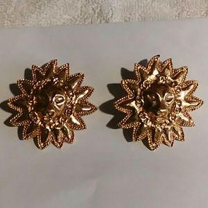 Chanel Lion Face Gold Earrings France